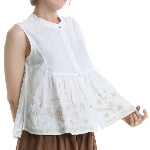 Blusa de Lino con Bordados Color Blanco